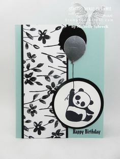 Paper Pumpkin Promotion Choices & More Swap Cards - Stamp Your Art Out! Kids Birthday Cards, Handmade Birthday Cards, Bear Card, Panda Party, Masculine Birthday Cards, Fancy Fold Cards, Stamping Up Cards, Card Tags, Paper Cards