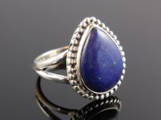 Lapis Sterling Silver Ring - Size 7