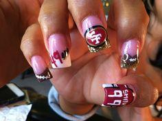 49er Fan, 49ER NAILS, FOOTBALL NAILS, SPORTS NAILS, SAN FRANCISCO 49ERS, NAIL ART