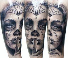 Muerte black and white tattoo by Zsofia Belteczky