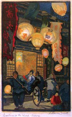 Modern Printmakers: Katharine Jowett: forbidden city. British printmaker Katharine Jowett (1890 - 1965)