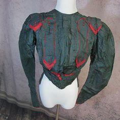 Edwardian green & navy silk taffeta blouse