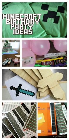 Minecraft Birthday Party Ideas: Printables, Crafts, Games, T-shirts, Stickers, Cake Ideas and More! Includes free printables for minecraft iron on t-shirts. Also free printables for sticker activity. Plus how to make your own minecraft torches and DIY swords to paint. Even Minecraft music! So many great, fun and surprisingly simple party ideas in one place! #minecraft #minecraftparty #minecraftbirthday