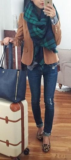 Jeans, collared shirt, plaid blanket scarf, blazer, and flats