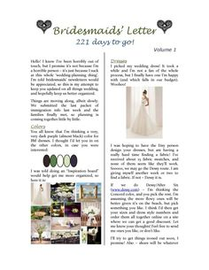 wedding party newsletter a must because everyone will be in a