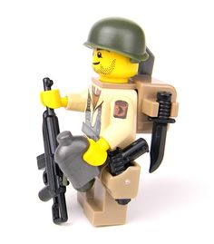 WW2 U.S. Army 101st Airborne Paratrooper with Carbine With Real LEGO(R) Mini-Figure Parts - Battle Brick