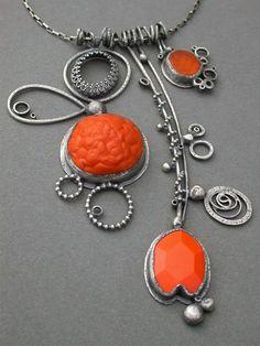 bright orange triple pendant necklace electric by jaimejofisher, $450.00