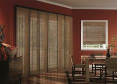 Woven Wood Sliding Panel Vertical Blinds from Budget Blinds in Grimsby