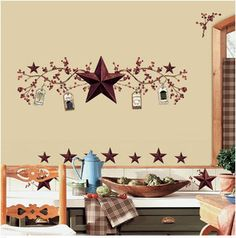 Country Stars Berries Kitchen Wall Stickers Decal Tall Room Decor RoomMates   eBay