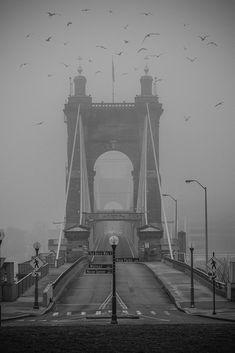 Image of the suspension bridge in Cincinnati, Ohio by Scott Meyer