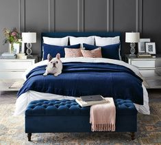 35 Amazingly Pretty Shabby Chic Bedroom Design and Decor Ideas - The Trending House Navy Blue Bedrooms, Blue Master Bedroom, Home Bedroom, Navy Blue Bedding, Bedroom Ideas, Master Suite, Jewel Tone Bedroom, Bedroom Images, Blue Duvet