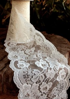 "Ivory Lace Ribbon - 5.5"" Wide x 10 Yards Only $10.99 wedding accessories vintage antique wedding decorations http://www.afloral.com/Silk-Wedding-Flowers/Fall-Wedding-Flowers/Ivory-Lace-Ribbon-5-5-Wide-x-10-Yards"