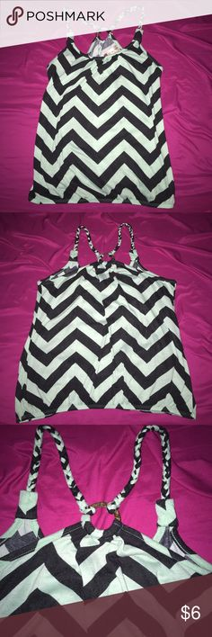 No Boundaries Mint/Black Chevron Tank Top Super cute Mint/Black Chevron Top with braided straps and elastic at the bottom! Very comfy top true to size! Does have some pilling but other than that in great shape! Bundle 3+ Items & Save 30% On Your Purchase! No Boundaries Tops Tank Tops