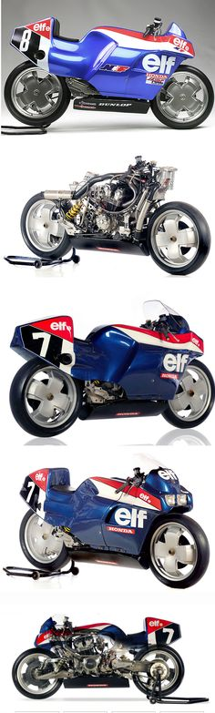 1980 Elf e Endurance bike powered by Honda CB 900 F engine. High tech chassis featuring structural engine and front swing arm.