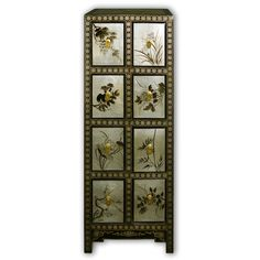 "45"" Black Lacquer Cabinet with 8 Drawers Hand Painted on Gold Leaf Classical Chinese Furniture"