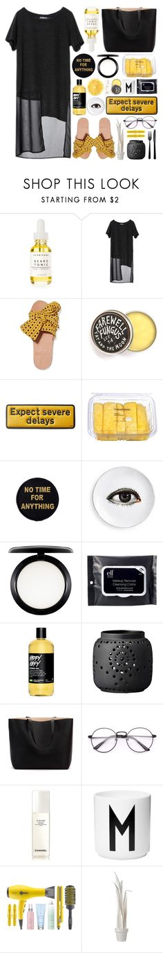 """No Time"" by fy-ona ❤ liked on Polyvore featuring Herbivore, Brother Vellies, Anya Hindmarch, MAC Cosmetics, e.l.f., Chanel, Design Letters, Drybar, Wandschappen and Viners"