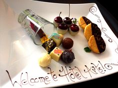 Painted Valhrona chocolates & cookies - one of our welcome amenities at Hotel Arts