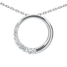 1/4 CTW Diamond Circle Journey Pendant in 10K White Gold