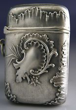 BEAUTIFUL QUALITY 800 SOLID SILVER VESTA CASE c1900 ANTIQUE GERMANY