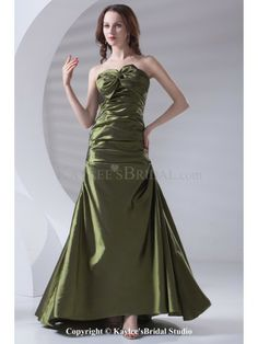 Taffeta Strapless A-line Floor Length Directionally Ruched Prom Dress
