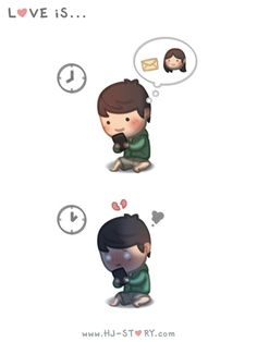 Check out the comic HJ-Story :: Love is. Love Cartoon Couple, Chibi Couple, Cute Love Cartoons, Cute Cartoon, Hj Story, Love Is Everything, What Is Love, Cute Love Stories, Love Story