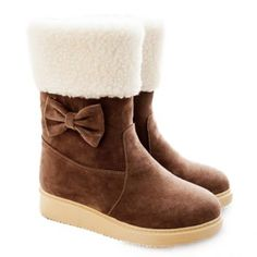 $32.22 Sweet Suede and Bowknot Design Women's Mid-Calf Boots