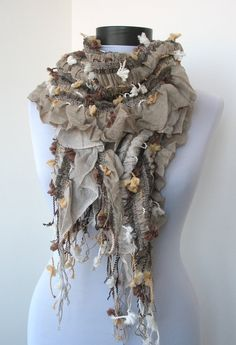 Fabric Knitted Lace Scarf Shawl Scarf Cowl by MagicOfScarves,