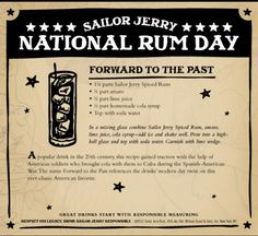 Forward To The Past cocktail recipe. Sailor Jerry Spiced Rum, amaro, lime juice, cola syrup, soda water. National Rum Day poster. American soldiers, Cuba, Spanish American War. Page no longer exists