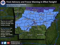 - says For The Little Rock Metro & Central Arkansas: Frost Advisory From 1:00 AM Til 8:00 AM Sunday. Mostly Clear Nights & Mostly Sunny Days Thru Thursday.  Mild Temps. Lo 35. Hi Sunday 62 & Lo 40. Hi Monday 68 & Lo 49. Hi Tuesday 72 & Lo 49. Hi Wednesday 75 & Lo 52. Hi Thursday 74 & Lo 57.  Cloudy With Scattered Showers & T'Storms Fri & Fri Ngt. Sunny Next Saturday. Hi Friday 69 & Lo 43. Hi Saturday 57.  For Updates: http://www.weather4ar.org/ - DCP2