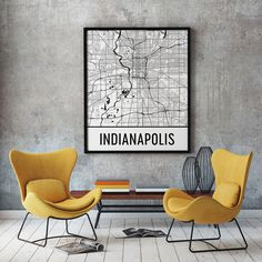 Indianapolis IN Map, Art, Print, Poster, Wall Art.