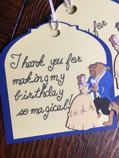 Navy and Gold Favor Tags, Princess Belle Gift Tags, Beauty and the Beast Thank You Tags, Princess Belle Themed Party by TheresasPaperCrafts on Etsy
