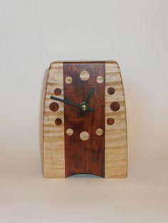 hand made wood clock   Handmade solid wood clock. Quartz movement. Desk, Mantel or Shelf ...