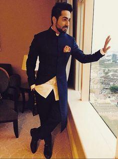 Ayushman looks astounding in this indo western. Mens Indian Wear, Indian Groom Wear, Indian Men Fashion, Mens Fashion Suits, India Fashion Men, Groom Fashion, Men's Fashion, Wedding Dresses Men Indian, Wedding Dress Men