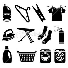 Laundry icons royalty free stock vector art illustration