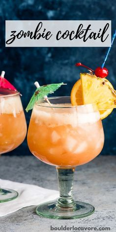 The Zombie Cocktail is a classic rum and tropical fruit juice cocktail - This old-school cocktail tastes like a tropical vacation. Three types of rum and loads of tasty tropical fruit juices. Easy to make and perfect for parties! Easy Drink Recipes, Best Cocktail Recipes, Drinks Alcohol Recipes, Wine Recipes, Alcoholic Cocktails, Summer Cocktails, Cocktail Drinks, Fruit Drinks, Beverages