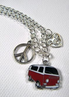 Peace Love and Hippie Van Charm Necklace by artspiritdesigns, $15.00