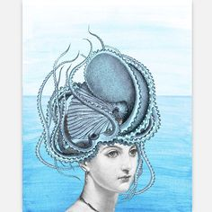 Coming Out Of Water Print 11x14    This Victorian-era beauty emerged from the Mediterranean with an octopus on her head. We'll call her calamari Mary! Who needs a Venus in a shell when you have this charming print from Rococco-LA?