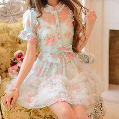 "Japanese sweet flowers bud silk organza dress SE9795      Coupon code ""cutekawaii"" for 10% off"
