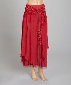 Pretty Angel Burgundy Linen-Blend Midi Skirt   zulily