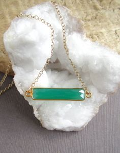 Green+Agate+Bar+Necklace+Sideways+Gemstone+by+julianneblumlo,+$58.00