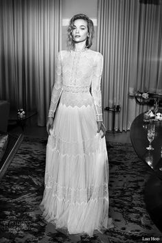 lihi hod wedding dresses 2015 bridal gown jewel neckline long sleeves lace sheer bodice pleated column dress style sophia