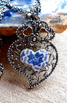 Portugal Silver Filigree Heart of Viana with Antique Blue by Atrio,: