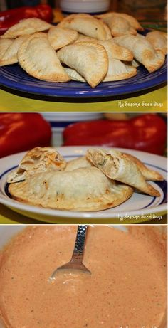 Turkey Empanadas with Roasted Red Pepper Sauce