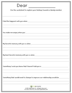 A letter writing activity such as this can help a child express themselves to family members, medical staff, or can be a more imaginative exercise of writing a letter to their illness. These thoughts can be used to share pertinent info with family/medical Counseling Worksheets, Therapy Worksheets, Counseling Activities, Social Work Activities, Self Esteem Worksheets, Cbt Worksheets, Communication Activities, Self Esteem Activities, Group Counseling