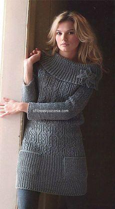 Вязание спицами мини-платья с цветком / Стильное вязание