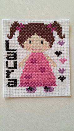Laura, Cross stitch, pink, girls