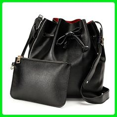OURBAG Women Cross-body Purses PU Leather Drawstring Bucket Bags 2 Pieces Set Black Medium - Crossbody bags (*Amazon Partner-Link)