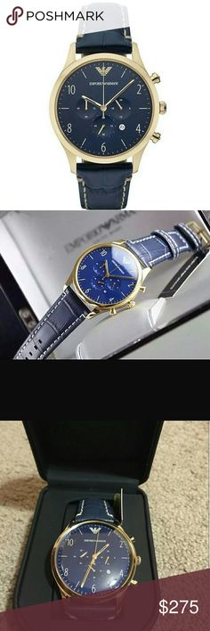 NWT Emporio Armani Chronograph blue Men's watch EMPORIO ARMANI Chronograph Blue Dial Blue Leather Men's Watch.   FIRM PRICE FIRM PRICE FIRM PRICE FIRM  $295.00 . AUTHENTIC WATCH  . AUTHENTIC BOX  . AUTHENTIC MANUAL    SHIPPING  PLEASE ALLOW FEW BUSINESS DAYS FOR ME TO SHIPPED IT OFF.I HAVE TO GET IT FROM MY STORE.    THANK YOU FOR YOUR UNDERSTANDING. emporio Armani  Accessories Watches
