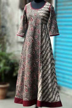 Buy Maati Crafts Brown Cotton Printed Anarkali Kurti online in India at best price.a perfect maxi dress in handblock print in flowy style! the dress has an asymmetrical kali with mangalgiri African Fashion Dresses, African Attire, African Dress, Indian Dresses, Anarkali Kurti, Long Anarkali, Indian Salwar Kameez, Patiala, Kurti Neck Designs