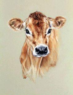 Pencil Portrait Mastery - Jersey Cow, original pastel portrait - Discover The Se. - Pencil Portrait Mastery – Jersey Cow, original pastel portrait – Discover The Secrets Of Drawin - Cow Drawing, Pastel Drawing, Pastel Art, Animal Paintings, Animal Drawings, Art Drawings, Cow Painting, Painting & Drawing, Watercolor Animals